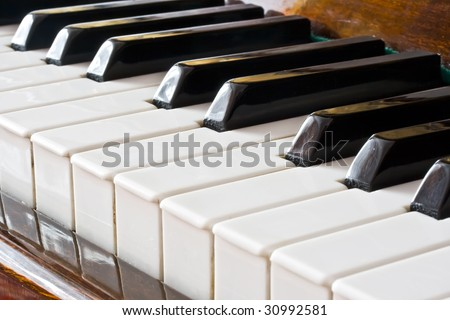Closeup view of a piano keyboard