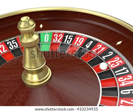 closeup view of a roulette wheel on white background (3d render)