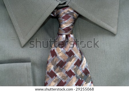 Closeup view of a shirt and neck tie - stock photo