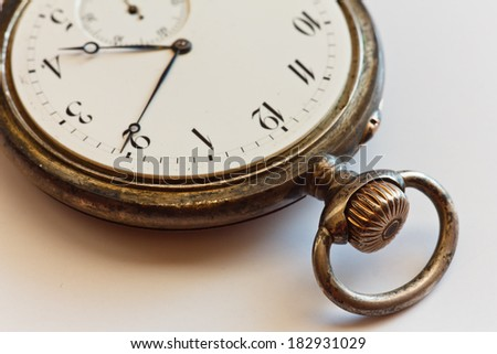 Closeup view of a silver pocket watch  - stock photo