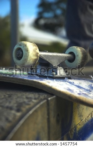 closeup view of a skateboard - stock photo