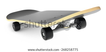 closeup view of a skateboard on white background (3d render)