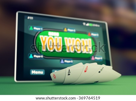 closeup view of a tablet pc with a poker app on winning situation and four aces (3d render) - stock photo