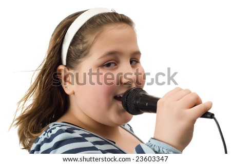 Closeup view of a young girl singing into a microphone, isolated against a white background