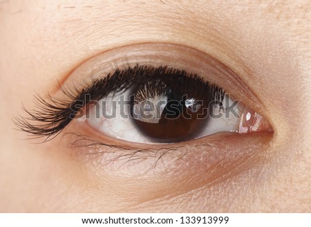 Closeup view of an Asian woman eye