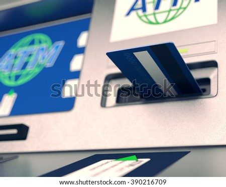 closeup view of an atm with a card on the slot  (3d render)