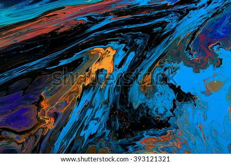 Closeup view of an original painting. Hand painted abstract dark cosmic grunge background.  Modern futuristic template. Multicolored space texture with space for text or image. Fragment of artwork - stock photo