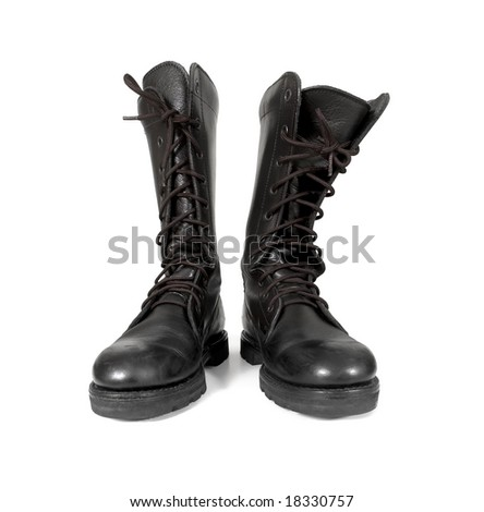 Closeup view of army boots isolated on white background. - stock photo