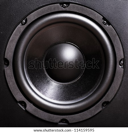 Closeup view of black bass speaker - stock photo