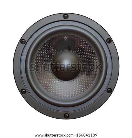 Closeup view of black bass speaker - isolated on white - stock photo