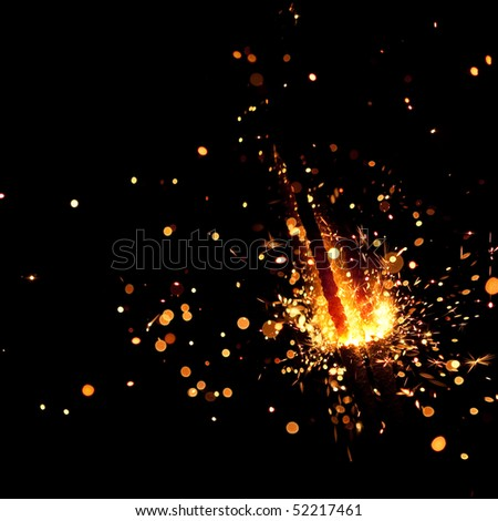 closeup view of burning sparkler - stock photo