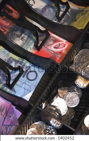 closeup view of cash register  draw full of australian currency - stock photo