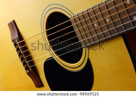 Closeup view of classic spanish guitar - stock photo