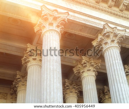 Closeup view of colonnade and the ceiling of Kazan Cathedral  in Saint-Petersburg, Russia. Architectural landscape with soft sunny light.  - stock photo