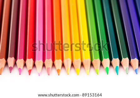 Closeup view of colored pencils