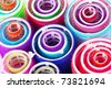 Closeup view of colorful hair rollers - stock photo