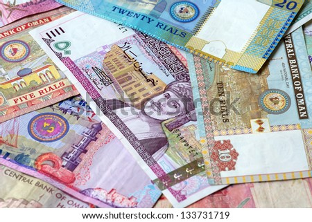 Closeup view of different banknotes of omani rials