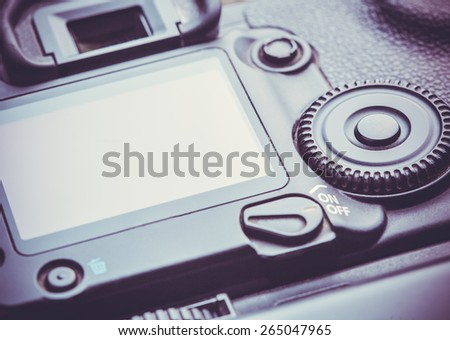 Closeup view of digital dslr camera