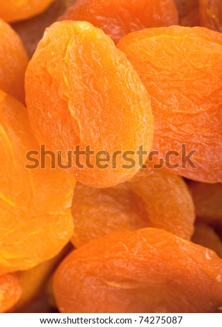 Closeup view of dried apricots in the market