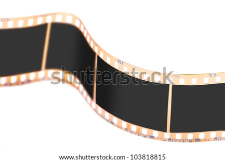 Closeup view of film isolated over white