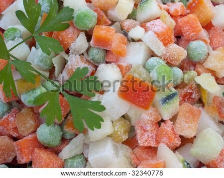 Closeup view of frozen various vegetables. - stock photo