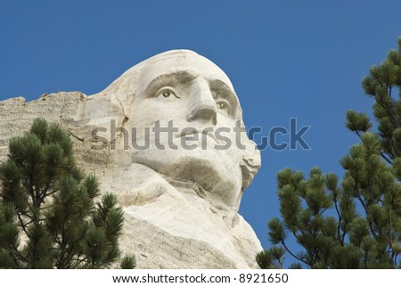 closeup view of George Washington on Mount Rushmore National Monument in the Black Hills of South Dakota.
