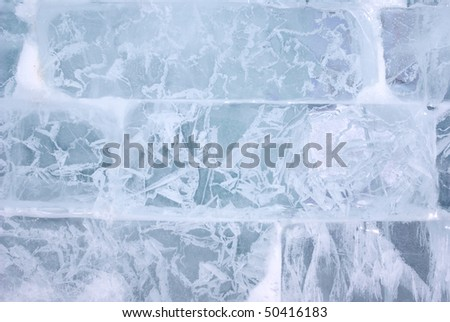 Closeup view of Ice brick wall, background - stock photo
