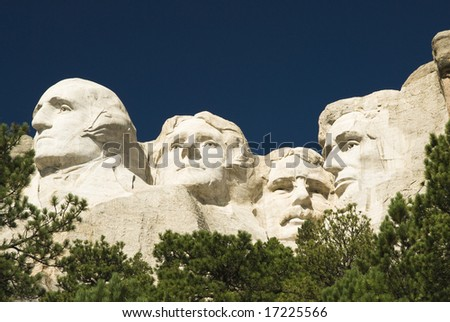 closeup view of Mount Rushmore National Monument in the Black Hills of South Dakota. - stock photo