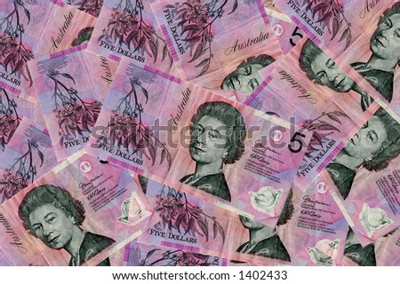 Closeup view of $5 notes in australian currency - stock photo