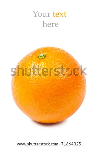 Closeup view of orange isolated over white and place for your text.