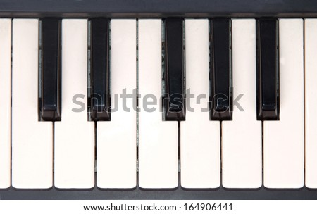 closeup view of piano keyboard isolated on white background