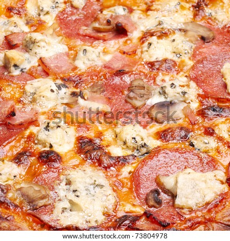 Closeup view of pizza with cheese, salami and mushrooms - stock photo