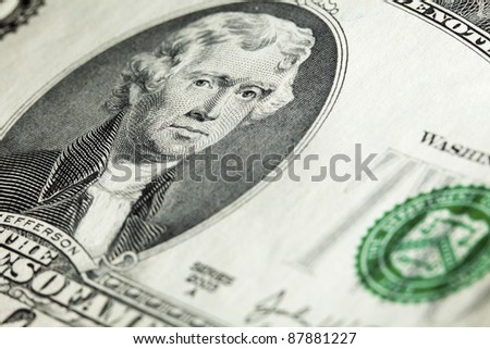 Closeup view of portrait of President Thomas Jefferson on two-dollar banknote - stock photo