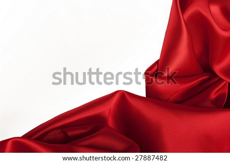 closeup view of red satin perfect for abstract background, with copyspace for text.  Part of a series - stock photo