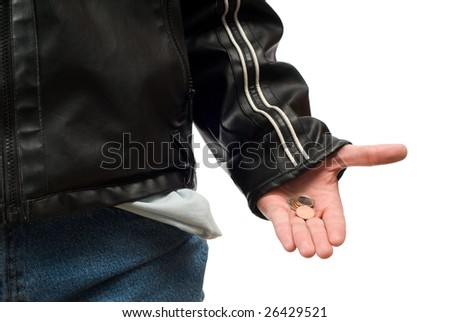 Closeup view of someone showing the little bit of money left in their pocket, isolated against a white background - stock photo