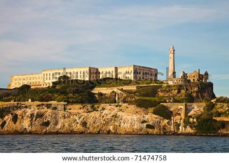 Closeup view of the Alcatraz Prison in the San Francisco Bay, California. - stock photo