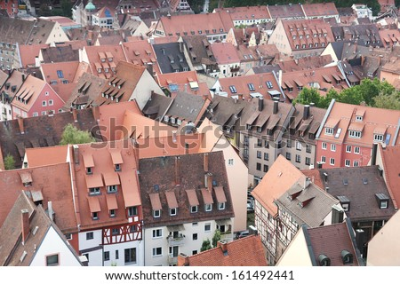 Closeup view of the houses and rooftops of Nuremberg from Kaiserburg Imperial Castle. - stock photo