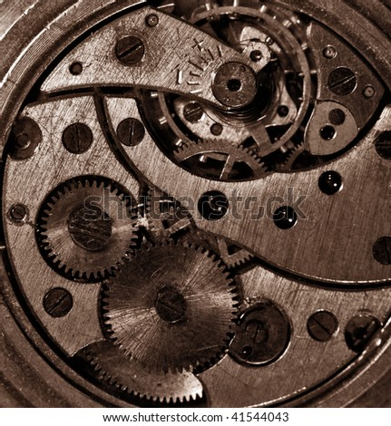 Closeup view of the old mechanism. Abstract techno background