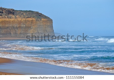 Closeup view of the shoreline. Famous rock formations. Great Ocean Road, Victoria, Australia.