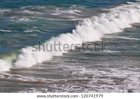 Closeup view of the shoreline. Seascape at South Australia. Ocean waves at the Australian shore