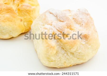 closeup view of traditional homemade raised cheese cake - stock photo