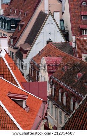 Closeup view overlooking the roofs of the Old Town in Tallinn in Estonia - stock photo