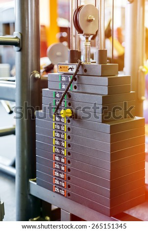 Closeup weight of stack in a gym - stock photo