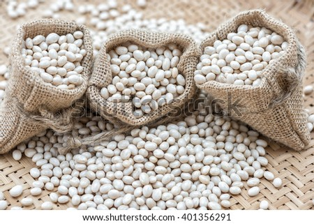 Closeup white beans, Navy beans - stock photo