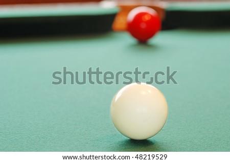 Closeup White Billiard Ball - stock photo