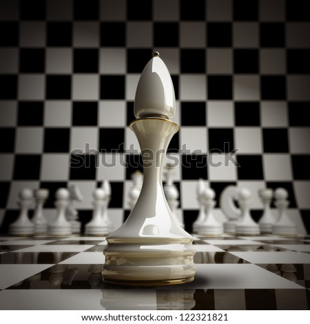 closeup white chess officer background 3d illustration. high resolution - stock photo