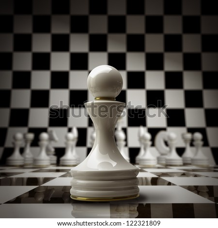 closeup white chess pawn background 3d illustration. high resolution
