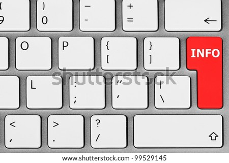 Closeup White Computer Keyboard with Red Key Info - stock photo