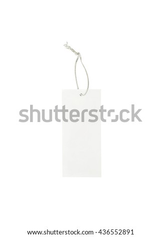 Closeup white price tag with silver color rope , white space price tag for letter isolated on white background - stock photo