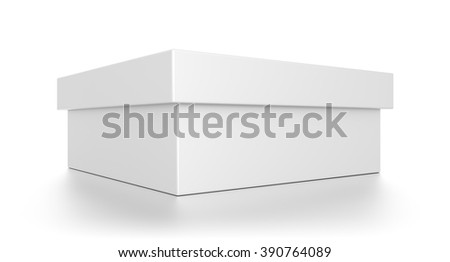 Closeup white wide rectangle blank box with cover isolated on white background. - stock photo